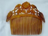 Art Nouveau Horn Haircomb - Roses with Leaves - French circa 1890 -1900 (SOLD)